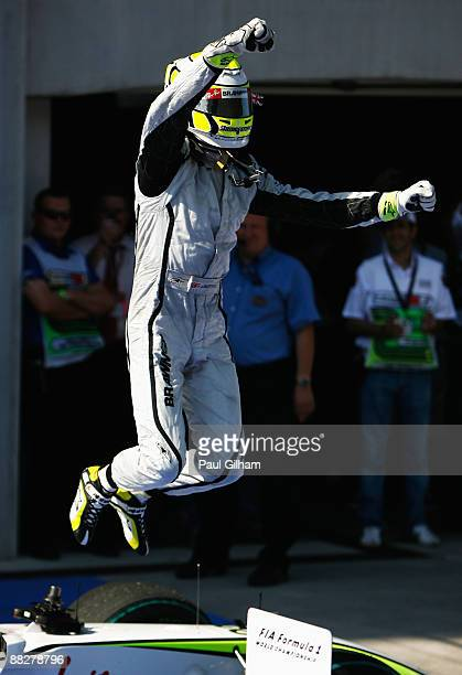 Jenson Button of Great Britain and Brawn GP celebrates in parc ferme after winning the Turkish Formula One Grand Prix at Istanbul Park on June 7 in...