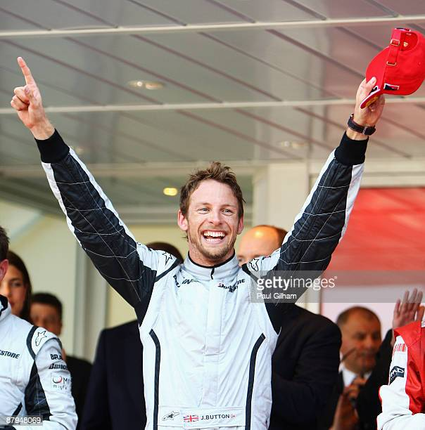 Jenson Button of Great Britain and Brawn GP celebrates winning the Monaco Formula One Grand Prix at the Monte Carlo Circuit on May 24 2009 in Monte...
