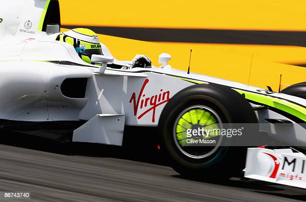 Jenson Button of Great Britain and Brawn GP drives during practice for the Spanish Formula One Grand Prix at the Circuit de Catalunya on May 8, 2009...