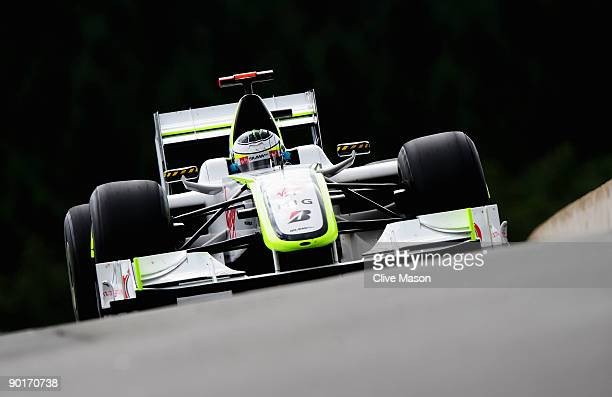 Jenson Button of Great Britain and Brawn GP drives during the final practice session prior to qualifying for the Belgian Grand Prix at the Circuit of...