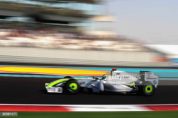 Jenson Button of Great Britain and Brawn GP drives during the final practice session prior to qualifying for the Abu Dhabi Formula One Grand Prix at...