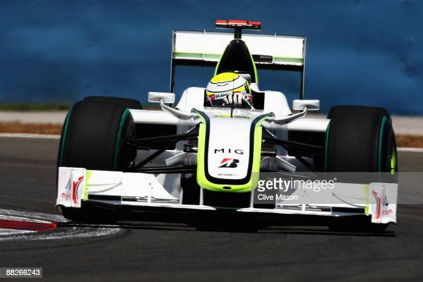 Jenson Button of Great Britain and Brawn GP drives in the final practice session prior to qualifying for the Turkish Formula One Grand Prix at...