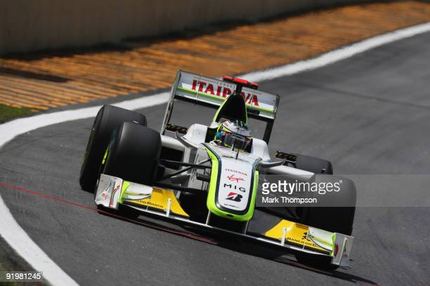 Jenson Button of Great Britain and Brawn GP drives on his way clinching the F1 World Drivers Championship during the Brazilian Formula One Grand Prix...