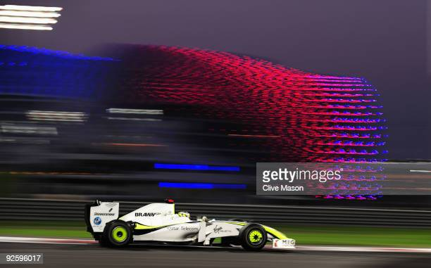 Jenson Button of Great Britain and Brawn GP drives on his way to finishing third in the Abu Dhabi Formula One Grand Prix at the Yas Marina Circuit on...