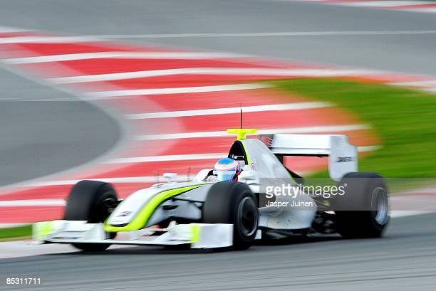 Jenson Button of Great Britain and Brawn GP in action during formula one testing at the Circuit de Catalunya on March 9 2009 in Barcelona Spain