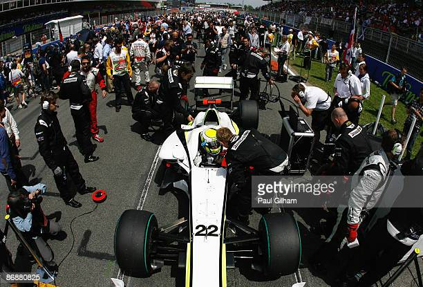 Jenson Button of Great Britain and Brawn GP is seen on the grid before the start of the Spanish Formula One Grand Prix at the Circuit de Catalunya on...
