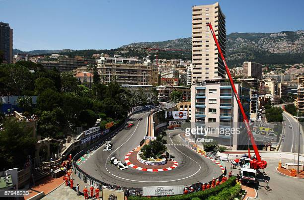 Jenson Button of Great Britain and Brawn GP leads at the start of the Monaco Formula One Grand Prix at the Monte Carlo Circuit on May 24 2009 in...