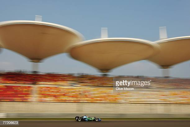 Jenson Button of Great Britain and Honda Racing drives during practice for the Chinese Formula One Grand Prix at the Shanghai International Circuit...