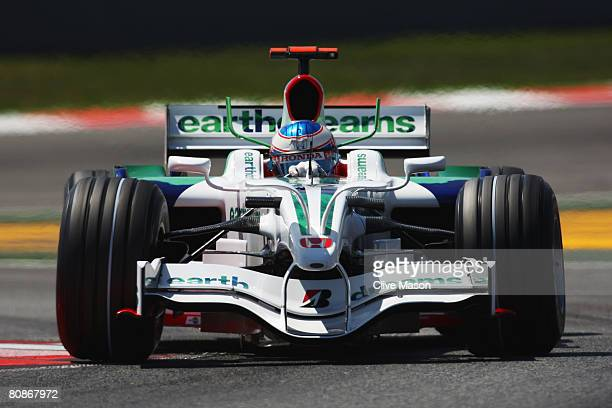 Jenson Button of Great Britain and Honda Racing during qualifying for the Spanish Formula One Grand Prix at the Circuit de Catalunya on April 26,...