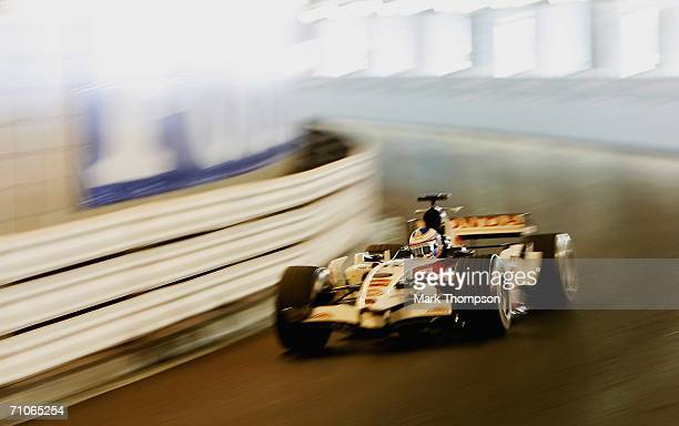 Jenson Button of Great Britain and Honda Racing during the warm up session before qualifying for the Monaco Formula One Grand Prix at the Monte Carlo...