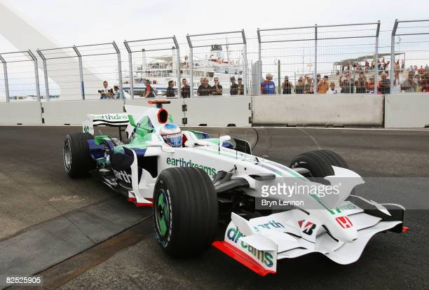 Jenson Button of Great Britain and Honda Racing in action during qualifying for the European Formula One Grand Prix at the Valencia Street Circuit on...