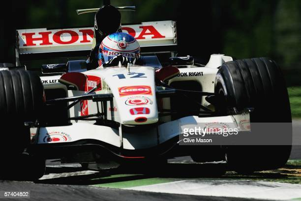 Jenson Button of Great Britain and Honda Racing in action during the San Marino Formula One Grand Prix at the San Marino Circuit on April 23 in...