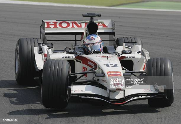 Jenson Button of Great Britain and Honda Racing in action during the European F1 Grand Prix at the Nurburgring on May 7 in Nurburg, Germany.