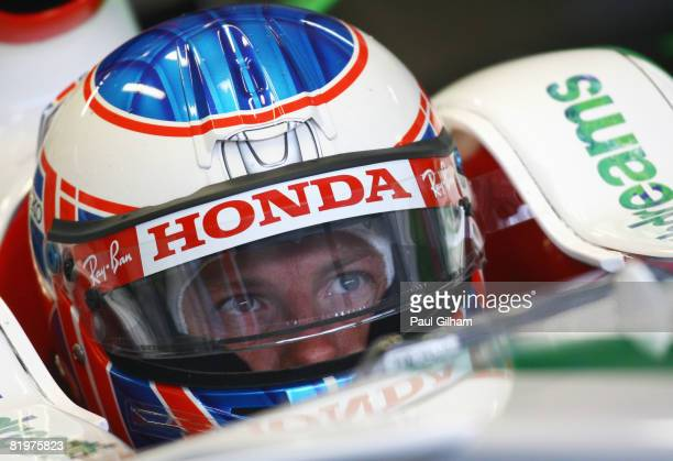 Jenson Button of Great Britain and Honda Racing prepares to drive during practice for the German Grand Prix at Hockenheimring on July 18, 2008 in...
