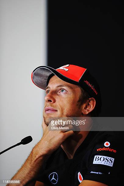 Jenson Button of Great Britain and McLaren attends the drivers press conference during previews to the British Formula One Grand Prix at the...