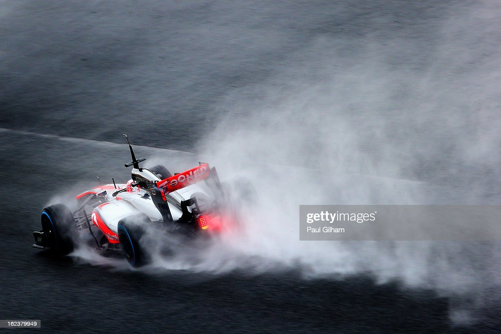 Jenson Button of Great Britain and McLaren drives during day four of Formula One winter tesingt at the Circuit de Catalunya on February 22, 2013 in Montmelo, Spain.