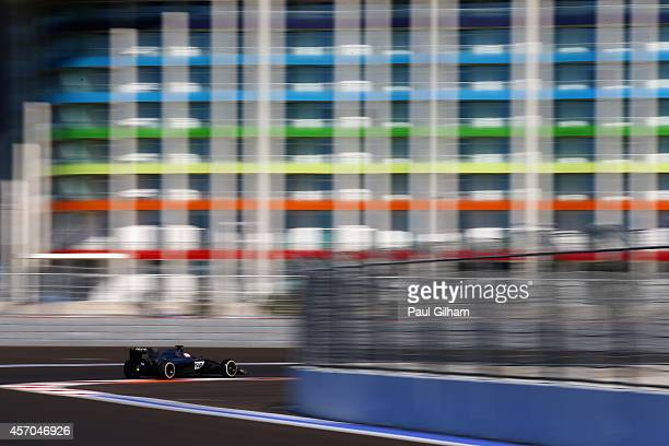 Jenson Button of Great Britain and McLaren drives during final practice ahead of the Russian Formula One Grand Prix at Sochi Autodrom on October 11...