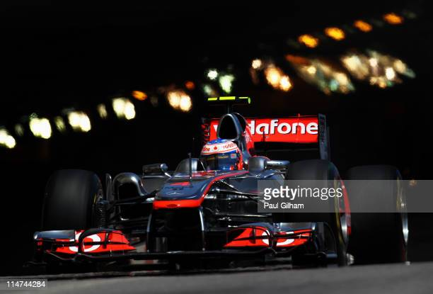 Jenson Button of Great Britain and McLaren drives during practice for the Monaco Formula One Grand Prix at the Monte Carlo Circuit on May 26 2011 in...