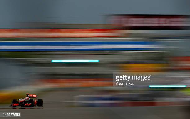 Jenson Button of Great Britain and McLaren drives during practice for the Canadian Formula One Grand Prix at the Circuit Gilles Villeneuve on June 8,...