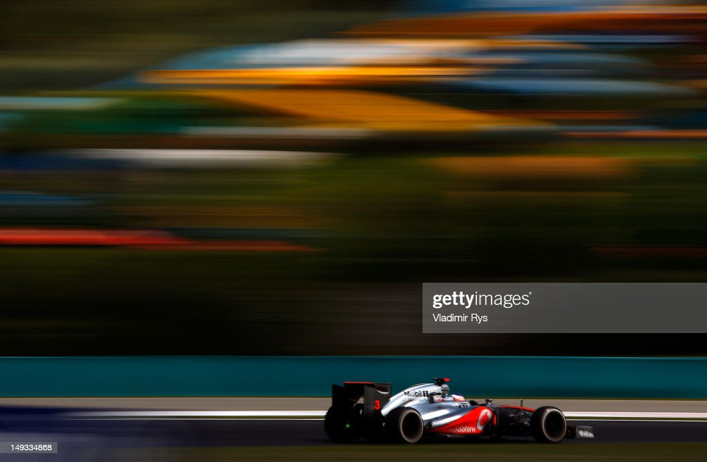 Jenson Button of Great Britain and McLaren drives during practice for the Hungarian Formula One Grand Prix at the Hungaroring on July 27, 2012 in Budapest, Hungary.