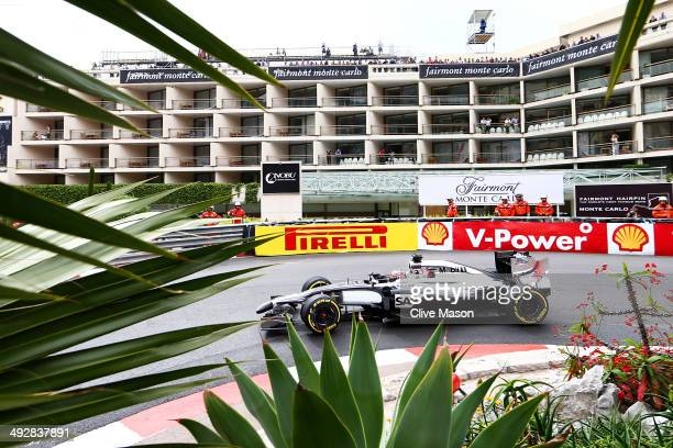 Jenson Button of Great Britain and McLaren drives during practice ahead of the Monaco Formula One Grand Prix at Circuit de Monaco on May 22 2014 in...