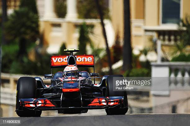 Jenson Button of Great Britain and McLaren drives during the final qualifying session prior to qualifying for the Monaco Formula One Grand Prix at...
