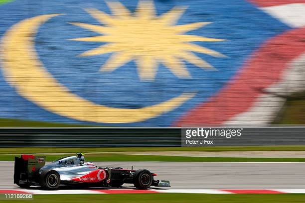 Jenson Button Of Great Britain and McLaren during the Malaysian Formula One Grand Prix at the Sepang Circuit on April 9 2011 in Kuala Lumpur Malaysia