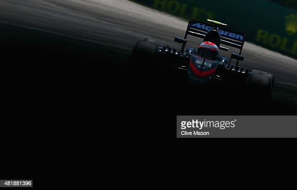Jenson Button of Great Britain and McLaren Honda drives during final practice for the Formula One Grand Prix of Hungary at Hungaroring on July 25...