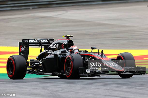 Jenson Button of Great Britain and McLaren Honda drives during practice for the Formula One Grand Prix of Austria at Red Bull Ring on June 19 2015 in...
