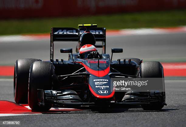 Jenson Button of Great Britain and McLaren Honda drives during the Spanish Formula One Grand Prix at Circuit de Catalunya on May 10 2015 in Montmelo...