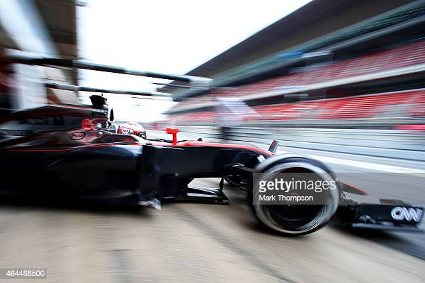 Jenson Button of Great Britain and McLaren Honda exits the garage during day one of the final Formula One Winter Testing at Circuit de Catalunya on...