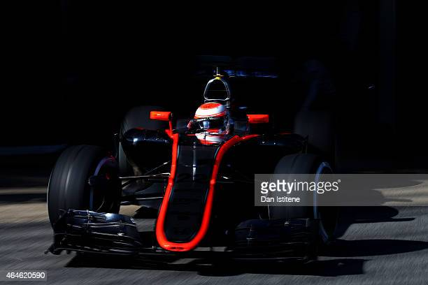 Jenson Button of Great Britain and McLaren Honda exits the garage during day two of the final Formula One Winter Testing at Circuit de Catalunya on...