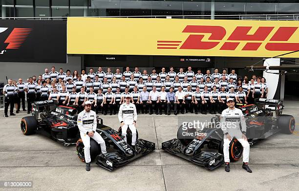 Jenson Button of Great Britain and McLaren Honda Fernando Alonso of Spain and McLaren Honda Stoffel Vandoorne of Belgium and McLaren Honda and the...
