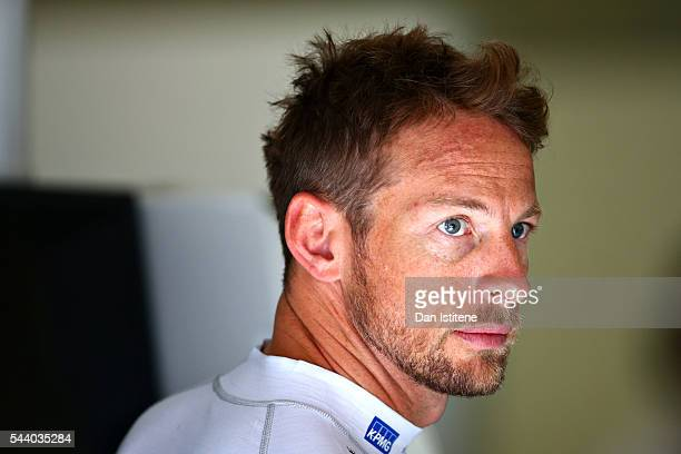 Jenson Button of Great Britain and McLaren Honda in the garage during practice for the Formula One Grand Prix of Austria at Red Bull Ring on July 1...