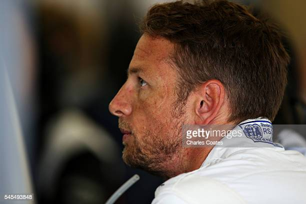 Jenson Button of Great Britain and McLaren Honda in the garage during practice for the Formula One Grand Prix of Great Britain at Silverstone on July...