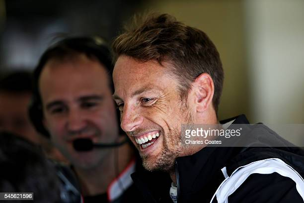 Jenson Button of Great Britain and McLaren Honda in the garage during final practice for the Formula One Grand Prix of Great Britain at Silverstone...