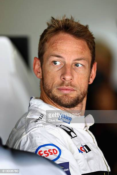 Jenson Button of Great Britain and McLaren Honda in the garage during practice for the Formula One Grand Prix of Japan at Suzuka Circuit on October 7...