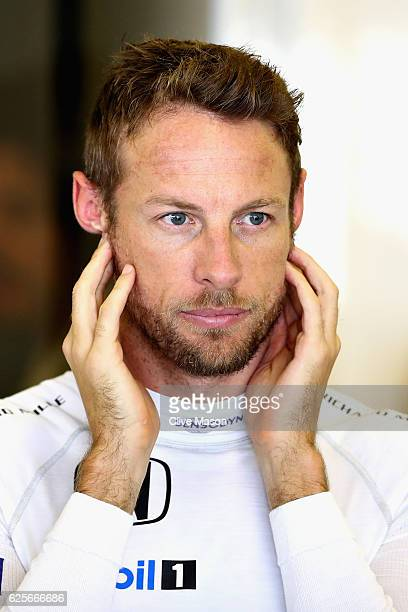 Jenson Button of Great Britain and McLaren Honda in the garage during practice for the Abu Dhabi Formula One Grand Prix at Yas Marina Circuit on...