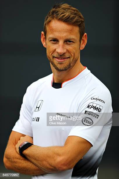 Jenson Button of Great Britain and McLaren Honda in the Paddock before the Formula One Grand Prix of Great Britain at Silverstone on July 10 2016 in...
