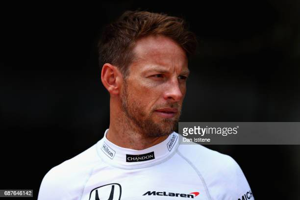 Jenson Button of Great Britain and McLaren Honda in the Pitlane during previews for the Monaco Formula One Grand Prix at Circuit de Monaco on May 24...
