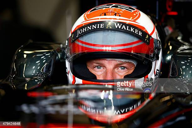 Jenson Button of Great Britain and McLaren Honda sits in his car in the garage during final practice for the Formula One Grand Prix of Great Britain...