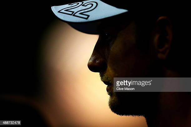 Jenson Button of Great Britain and McLaren Honda speaks with members of the media in the paddock during previews to the Formula One Grand Prix of...