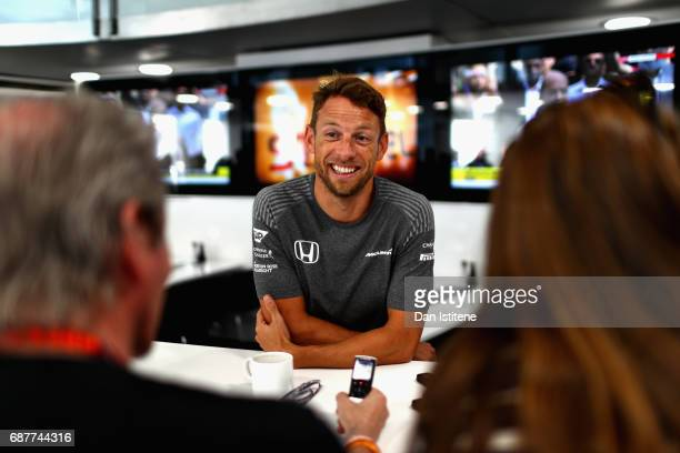 Jenson Button of Great Britain and McLaren Honda talks to the media during previews for the Monaco Formula One Grand Prix at Circuit de Monaco on May...