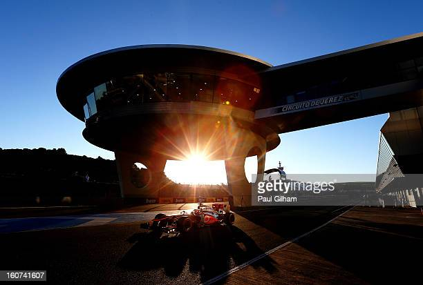 Jenson Button of Great Britain and McLaren leaves the pitlane during Formula One winter testing at Circuito de Jerez on February 5, 2013 in Jerez de...