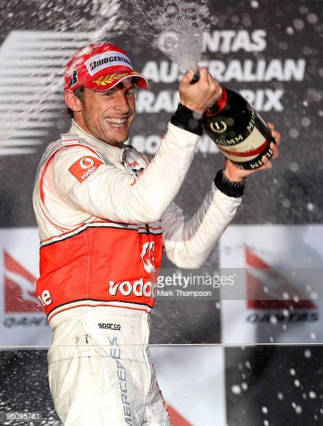 Jenson Button of Great Britain and McLaren Mercedes celebrates winning the Australian Formula One Grand Prix at the Albert Park Circuit on March 28...