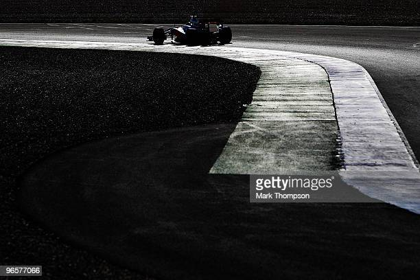 Jenson Button of Great Britain and McLaren Mercedes drives during winter testing at the Circuito De Jerez on February 11 2010 in Jerez de la Frontera...