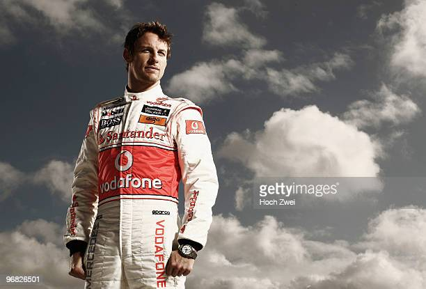 Jenson Button of Great Britain and McLaren Mercedes poses for a portrait during winter testing at the Circuito De Jerez on February 8 2010 in Jerez...
