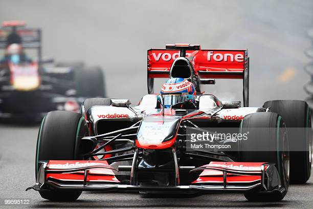 Jenson Button of Great Britain and McLaren Mercedes retires early with an engine problem during the Monaco Formula One Grand Prix at the Monte Carlo...