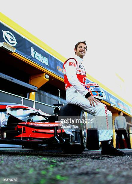 Jenson Button of Great Britain and McLaren poses for a photo during winter testing at the Ricardo Tormo Circuit on February 3, 2010 in Valencia,...