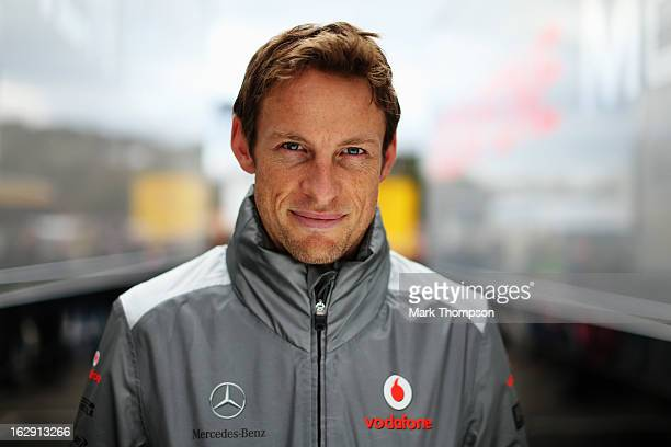 Jenson Button of Great Britain and McLaren poses for a photograph during day two of Formula One winter testing at the Circuit de Catalunya on March 1...